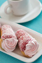 Free Two Cakes With Pink Cream On A Blue Background Stock Photo - 28454550