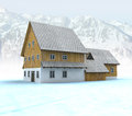 Free Idyllic Mountain Cabin With Mountain Peaks Stock Photography - 28459912