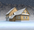 Free Classical Mountain Cottage At Night Snowfall Royalty Free Stock Photo - 28459955