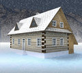Free Classical Mountain Hut At Night Snowfall Royalty Free Stock Images - 28459999
