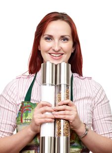 Free Woman With Large Salt And Pepper Mills Stock Photo - 28450260