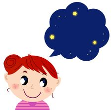 Free Little Cute Girl With Dreaming Royalty Free Stock Images - 28450869