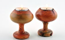 Free Two Wooden Candlesticks Stock Photo - 28452830