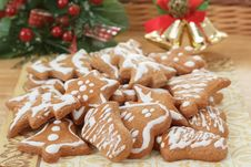 Free Christmas Gingerbreads And Decoration On Wooden Table Stock Image - 28459841