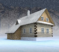 Free Classical Mountain Cabin At Night Snowfall Stock Images - 28460024