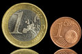 Free Two Used Coin - One Euro And One Eurocent Stock Photos - 28469523