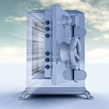 Free Heavy Reinforced Blue Metallic Opened Bank Vault Illustration Stock Image - 28460071