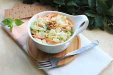 Free Salad With Cabbage, Carrot, Apples And Pears With Walnuts Stock Image - 28462971