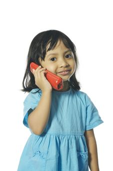 Little Girl Holding Red Wireless Telephone Stock Photos