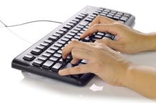 Free Hand Typing Keyboard Stock Photo - 28466160