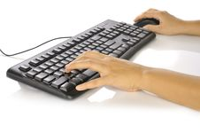 Free Hand Typing Keyboard Royalty Free Stock Image - 28466166