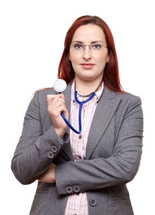 Free Female Doctor Holding Stethoscope Stock Image - 28466641