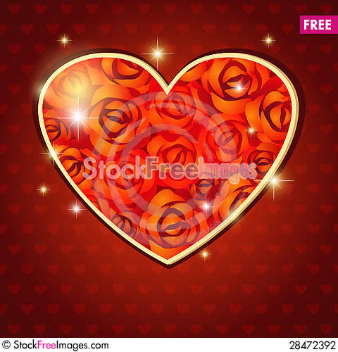 Free Heart Of Roses Stock Photography - 28472392
