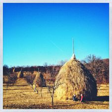 Free Hay Stack In Countryside Royalty Free Stock Image - 28471606