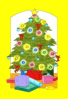 Free Christmas Tree And Presents Stock Photography - 28473242