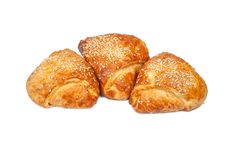 Three Pies From Flaky Pastry Stock Photography