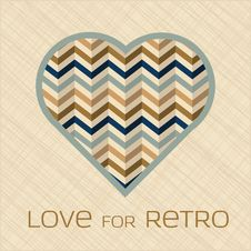 Heart With Pattern In Retro Colors Royalty Free Stock Images