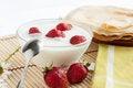 Free Strawberry Yogurt And A Plate Of Pancakes Royalty Free Stock Photo - 28483595