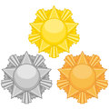 Free Three Medals With Stars Royalty Free Stock Image - 28483906