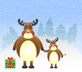 Free Christmas Reindeers With Gift Stock Photography - 28487052