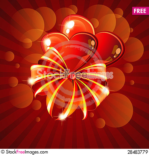 Free Two Hearts And Bow Royalty Free Stock Images - 28483779