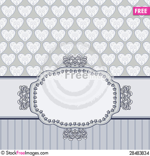 Free Retro Card With Texture Of Hearts Stock Images - 28483834