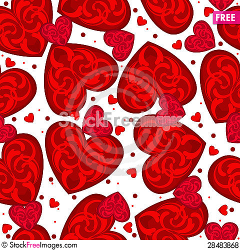 Free Seamless Red Hearts Royalty Free Stock Photos - 28483868