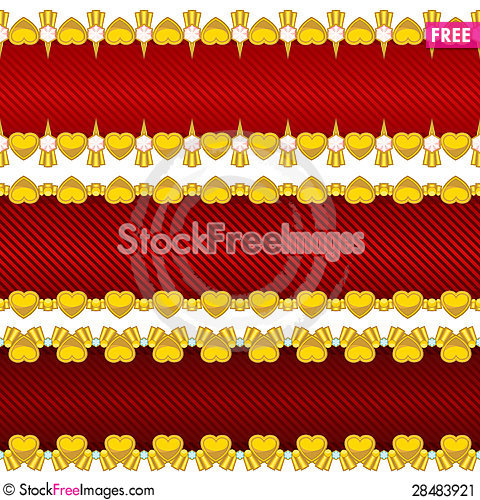 Free Seamless Banners With Hearts Stock Image - 28483921