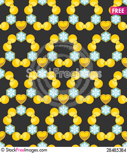 Free Golden Seamless Texture With Blue Gems Stock Images - 28485384