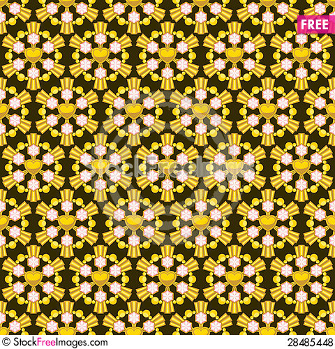 Free Golden Seamless Texture With Pink Gems Royalty Free Stock Photos - 28485448