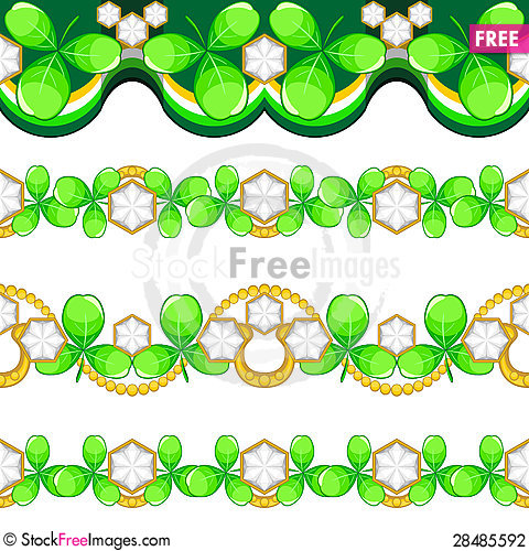 Free Seamless Borders With Shamrock Stock Photography - 28485592