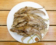 Fried Fishes On Dish Royalty Free Stock Image