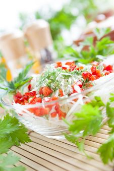 Fresh Salad With Cabbage And Red Pepper Stock Photo