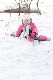 Free Cute Little Girl Frolicking In Snow Stock Image - 28485071