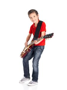 Free Portrait Of Young Boy With A Electric Guitar Stock Photo - 28485370