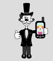 Free Gentleman Dog With Mobile Phone Royalty Free Stock Image - 28486836