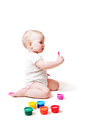 Free Year-old Child Playing With Paints Royalty Free Stock Photography - 28495587