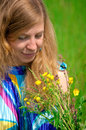 Free Young Women In Meadow With Flowers Stock Photography - 28498192