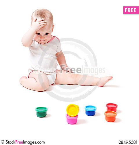 Free Little Baby With Paint Stock Image - 28495581