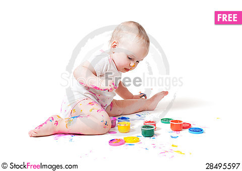 Free Little Year-old Child With Paint Royalty Free Stock Photography - 28495597