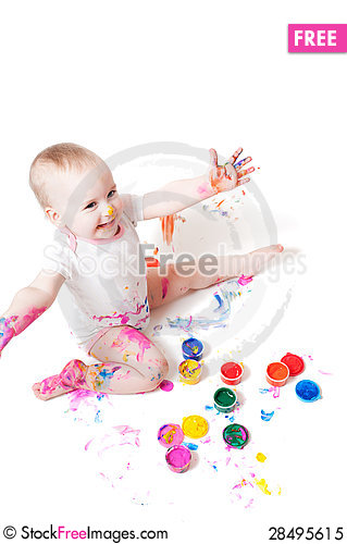 Free Girl With Paint Royalty Free Stock Photo - 28495615