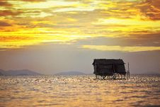 Free House On Wooden Stilts In The Middle Of The Ocean Stock Photography - 28490172