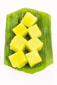 Free Thai Dessert Called Thai Sweetmeat On Banana Leaf Isolated On White Background Stock Photo - 28490610