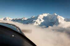 Mont Blanc In Winter From Airplane Stock Images