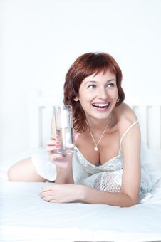 Young Woman With Glass Of Fresh Water Royalty Free Stock Photography
