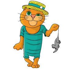 Free Hilarious Cat In A Straw Hat. Royalty Free Stock Photography - 28498037