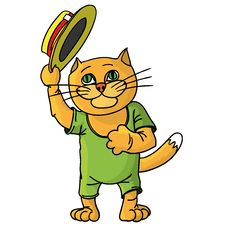 Free Hilarious Cat In A Straw Hat. Stock Images - 28498084