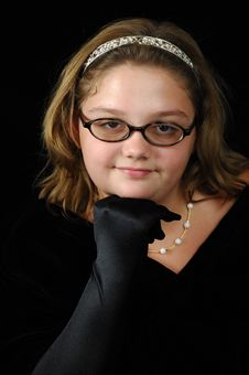 Young Lady In Black Velvet Stock Photo