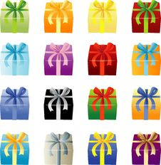 Free Many Color Giftboxes Royalty Free Stock Photography - 2851797