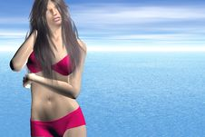 Free Woman At The Beach Royalty Free Stock Photography - 2854147